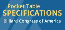 Billiard Congress of America pocket table specifications