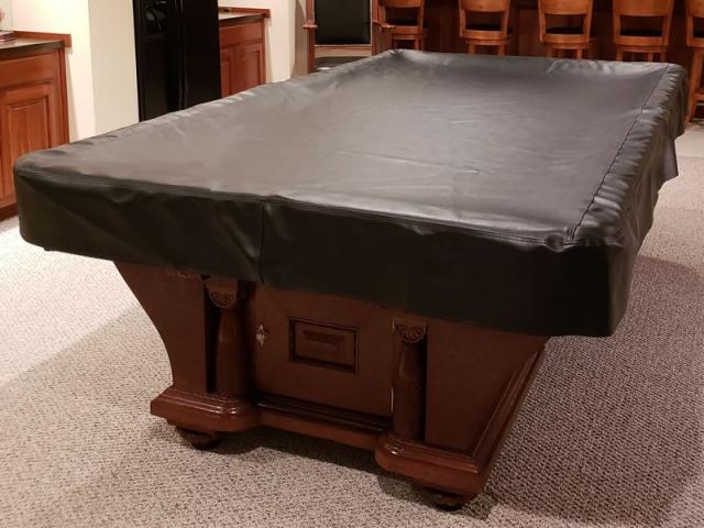 9\u0027 Leather Vinyl Pool Table Cover - 61 in. x 111 in. Black & 9\u0027 Leather Vinyl Pool Table Cover
